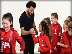 Mohamed Salah with Liverpool girls